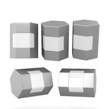 Silver hexagon box packaging with clipping path Stock Photos