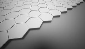 Silver hexagonal background rendered Royalty Free Stock Photos