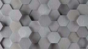 Silver Hexagonal Tile Background (Lights On) Stock Photos
