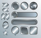 Silver high-detailed modern buttons Stock Photos