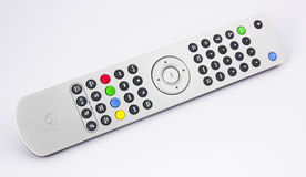 Silver high-end remote audio video controller. Isolated on white background Royalty Free Stock Photos