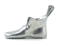 Silver high heel boot Royalty Free Stock Photography