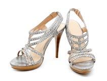 Silver high heel women shoe isolated Stock Photos