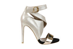Silver high heeled sandals Stock Image