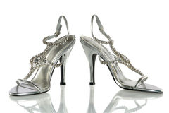 Silver High Heels Stock Photography