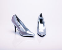 Silver high heels Stock Photo