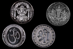 Silver Hindu Coins Royalty Free Stock Images