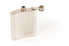 Silver hip flask Royalty Free Stock Photography