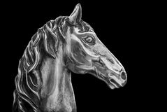 Silver Horse Head. Image of a silver horse head on a black background with room for copy Royalty Free Stock Images