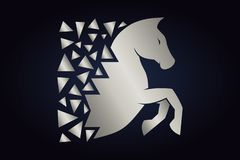 Silver horse silhouette on dark background. vector illustration