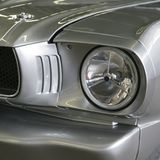 Silver Hotrod. Hotrod Silver paint front end and headlight American car Royalty Free Stock Photo