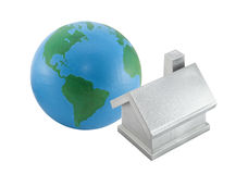 Silver house and globe Royalty Free Stock Images
