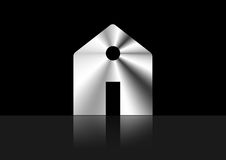 Silver house , home icon metallic ,  isolated or black background. House , home icon metallic ,  isolated or black background , metal , logo house Stock Images