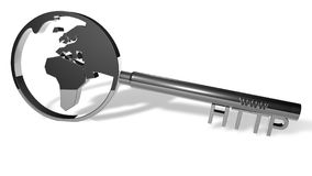 Silver http key. Silver key illustrating an www and http sign with a world symbol. Suitable for internet themed projects and web security concepts Royalty Free Stock Image