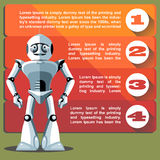 Silver humanoid robot presenting info graphic stock illustration