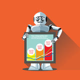 Silver humanoid robot presenting info graphic Royalty Free Stock Photo