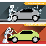 Silver humanoid robots fixing and washing cars Stock Image