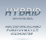 Silver Hybrid Font and Numbers. Eps 10 Vector, Editable for any background Royalty Free Stock Images