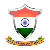 Silver Icon with flag of India and inscription Independence Day isolated. Icon with flag of India and inscription Independence Day isolated on white background Royalty Free Stock Photos