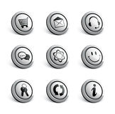 Silver icon set Stock Photo