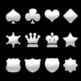Silver Icons. Chrome icons on black background. Paths were included. There's no need to etch Royalty Free Stock Photos