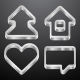 Silver icons of house, bubble, heart, tree Stock Images