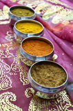 Silver Indian Spice Pots on Pink Gold Sari Royalty Free Stock Photos