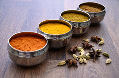 Silver Indian Spice Pots on Wood. Diagonal line of four traditional silver Indian restaurant kitchen spice pots containing chilli powder, turmeric, cumin and Stock Photography