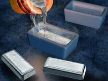 Silver ingot casting Stock Image