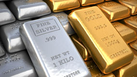 Silver ingot and  gold bullion. Finance illustration Royalty Free Stock Photography