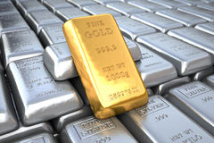 Silver ingot and  gold bullion. Finance illustration Royalty Free Stock Images