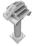 Silver ingot group on antigue column render. Illustration royalty free illustration