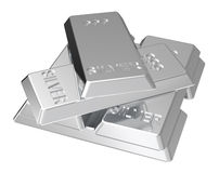 Silver ingots isolated on white. Computer generated 3D photo rendering Stock Image