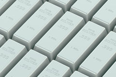 Silver Ingots. In the stack Stock Images