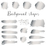Silver ink borders, brush strokes, stains, banners, blots, splatters. Royalty Free Stock Images