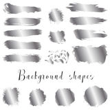 Silver ink borders, brush strokes, stains, banners, blots, splatters. Royalty Free Stock Image