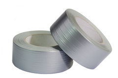 Silver insulating tapes Stock Images