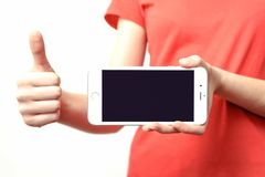 Silver Iphone 6 on Hand Royalty Free Stock Images