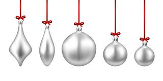 Silver isolated Christmas balls set. Stock Image