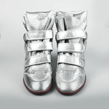 Silver Italian shoes women Royalty Free Stock Images