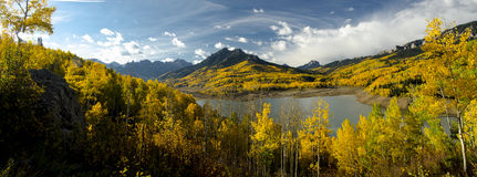 Silver Jack Reservoir Panorama. Panorama of Silver Jack Reservoir in fall with yellow aspen trees Royalty Free Stock Photo