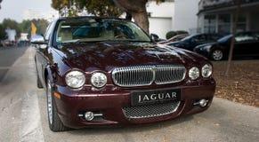 Silver Jaguar XJ för framsidamaskering Arkivbild