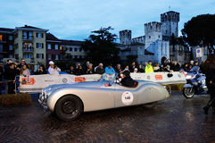 Silver Jaguar XK120 Alloy during the 1000 Miglia, in Sirmione Stock Images
