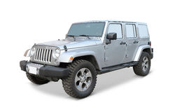 Silver Jeep on white Royalty Free Stock Photography
