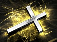 Silver Jesus cross shining, with golden caustics royalty free illustration