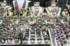 Silver Jewelery Shop Royalty Free Stock Photography