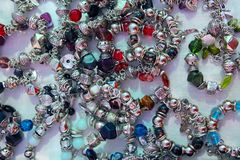 Silver jewellery blacelets shop display Royalty Free Stock Photos