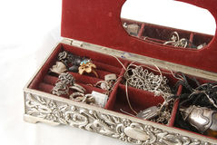 Silver jewellery box Royalty Free Stock Image