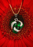 Silver jewellery pendant with gems and emerald on flower backgro Stock Image
