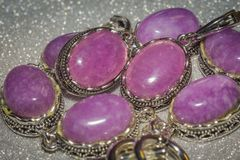 Silver Jewellery With Purple Stone Royalty Free Stock Photography